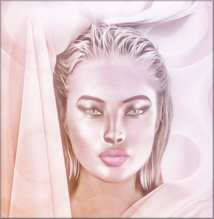 Close up face of a woman with beautiful cosmetics. This blonde girl is set on a pink abstract background that shows off her healthy and glowing skin. Stock Photo