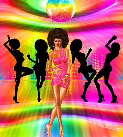 Vintage and retro disco dance scene with silhouettes of our unique digital art disco queen in the background.