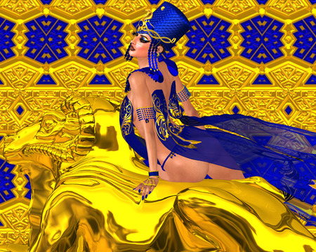 seductive woman: Seductive Egyptian woman in gold and blue. A stunning digital art fantasy scene that captures the beauty, wealth  and power of Egypt.