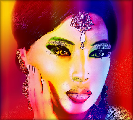asian art: Abstract digital art of Indian or Asian womans face, close up with colorful make up. An oil paint effect and glowing lights are added for a more modern art look and feel to this beauty and fashion scene.
