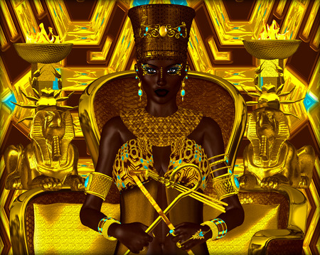 Nubian Princess. Seated on a gold chair with the crook and flail in her hands