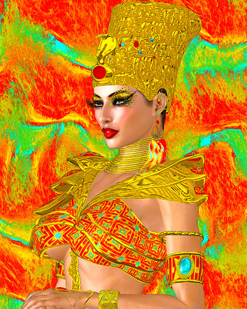 Egyptian queen adorned with gold jewelry and armor. Her beauty and confidence are without question.