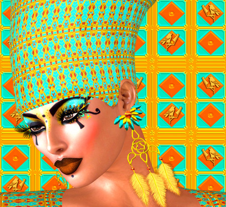 close up face woman: Egyptian queen adorned with gold and turquoise. Her beauty and confidence are without question. Stock Photo