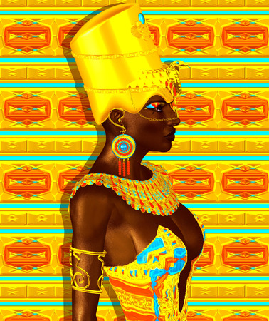 beauty queen: Black Egyptian princess in our modern digital art style, close up. The beauty, power and wealth of Egypt are captured in this Egyptian digital art fantasy image against a colorful abstract background