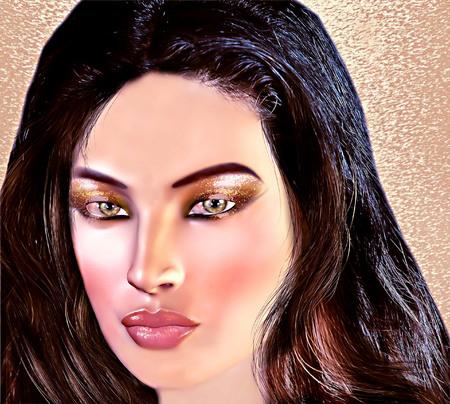Mediterranean beauty, a pretty brunette, close up face shot, in a modern digital art style.