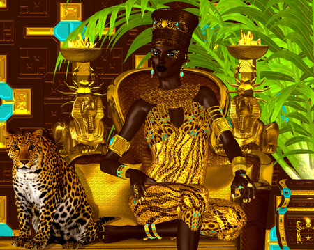Nubian Princess. Seated on a gold chair with a leopard at her feet Stock Photo