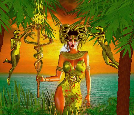 Snake Goddess. A magical, fantasy snake goddess stands in front of the sea with the setting Sun in the background. Stock Photo