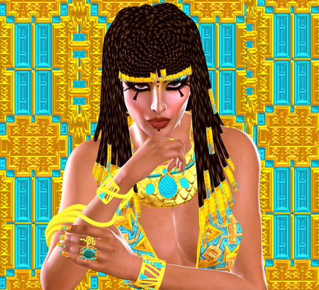cleopatra: Egyptian queen adorned with gold jewelry. A colorful dress, matching cosmetics and background all come together to complete this Egyptian digital art fantasy scene.