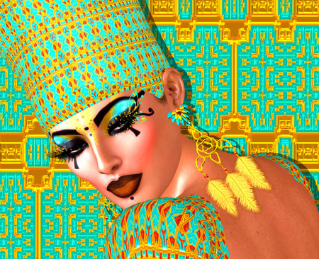 nile: Egyptian queen adorned with gold and turquoise. Her beauty and confidence are without question. Stock Photo