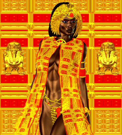 Black Egyptian princess in our modern digital art style, close up. The beauty, power and wealth of Egypt are captured in this Egyptian digital art fantasy image against a colorful abstract background