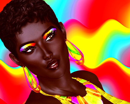 summer beauty: Beautiful Black Woman with colorful make up and a wavy Summer fun background. Large colorful hoop earrings and matching eyeshadow complete this beauty and fashion look. Our unique digital art creation.