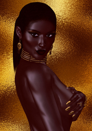 topless women: A beautiful young African woman, posing nude, wearing gold jewelry against a gold abstract background. A unique digital art creation of fashion and beauty in a vogue pose. Stock Photo
