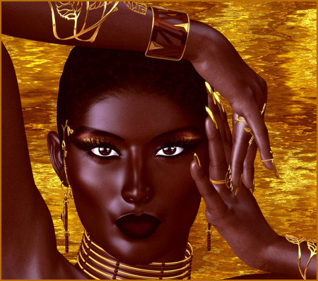 topless women: A beautiful young African woman wearing gold jewelry against a gold abstract background. A unique digital art creation of fashion and beauty in a vogue pose. Stock Photo