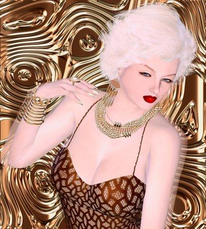 bombshell: Blonde bombshell on brown glitter and bronze swirl background. Stock Photo