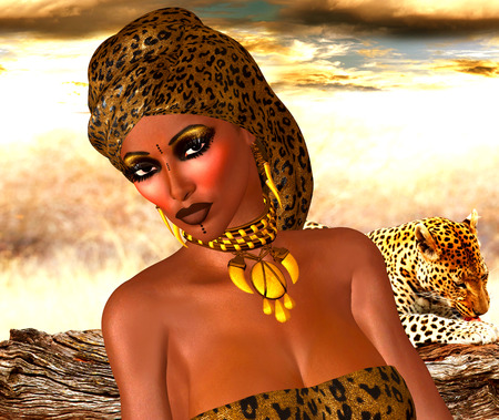 head scarf: African American Woman in Leopard Print Fashion with Beautiful Cosmetics and Head Scarf. Stock Photo