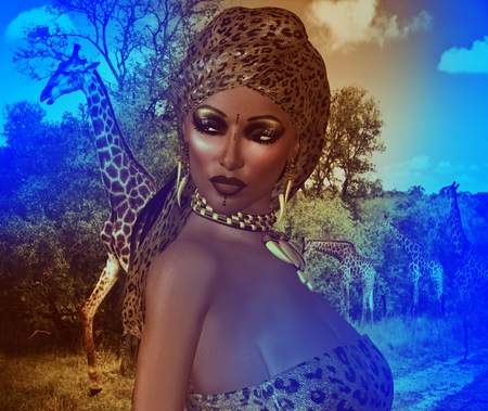 lips glow: Abstract Image of African American Woman in Leopard Print Fashion with Beautiful Cosmetics and Head Scarf.