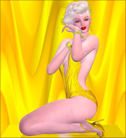 bombshell: Blonde bombshell on gold and yellow background in a bikini.