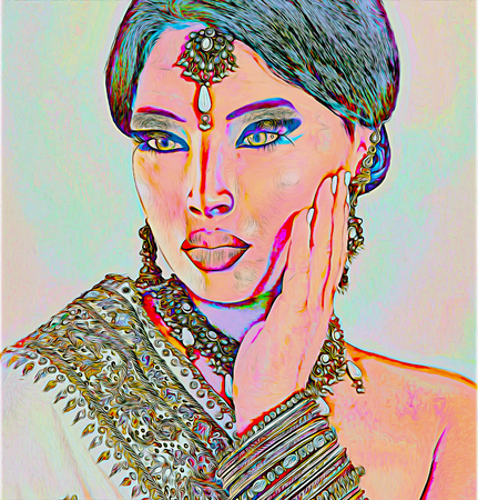 kamasutra: Abstract digital art of Indian or Asian womans face, close up with jewels. An oil paint effect and glowing lights are added for a more modern art look and feel to this beauty and fashion scene.
