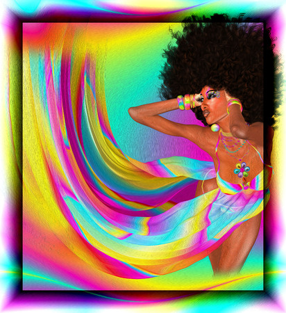 Sexy woman with afro haircut is dancing disco. Disco 80 style. Beautiful African woman in a colorful flowing ribbons outfit.