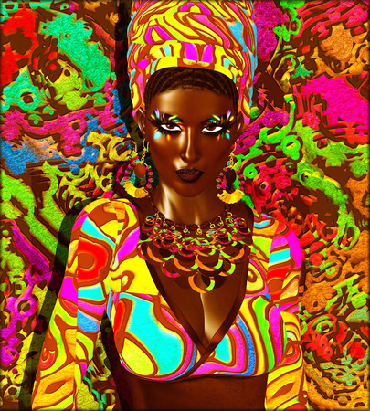 seductive look: Beauty of Africa. This digital fashion model in colorful makep and background is shown in a confident, seductive and powerful pose. An abstract background that matches her makeup and accessories completes this beauty and fashion look.