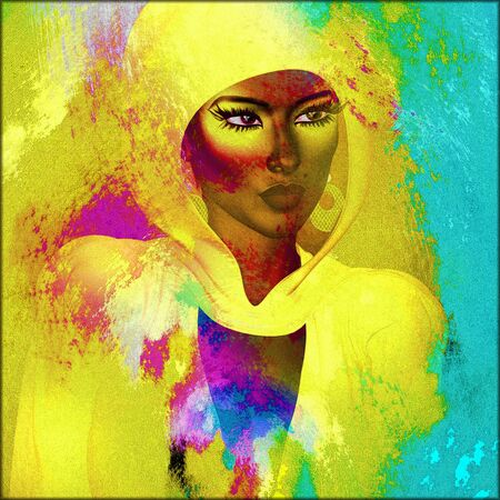 head scarf: Beautiful African woman in a colorful head scarf against a gradient background Stock Photo