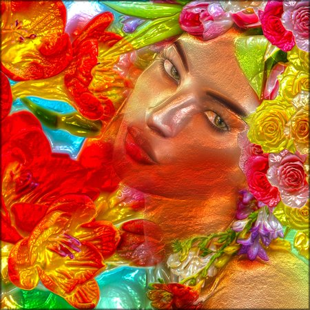 Abstract digital art of a womans face, close up with colorful flowers. An oil paint effect and glowing lights are added for a more modern art look and feel to this beauty and fashion scene.