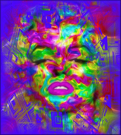 bombshell: Pop Culture is one of our unique, colorful abstract digital art images of a classic blonde bombshell in the likes of a Marilyn pop art style.