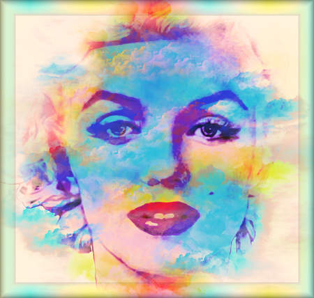 Modern digital art image of a woman's face, close up with colorful abstract background.