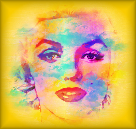 face close up: Abstract blonde, splashed paint. Colorful splashed paint and watercolor effects create this abstract digital art image of a blonde womans face, close up. Stock Photo
