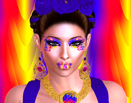 brilliant colors: Brilliant colors adorn this image of a woman that was inspired by the great Mexican artist Frieda Kahlo . This is our very own unique digital art design, loaded with bold and vibrant colors and modern beauty and fashion makeup!