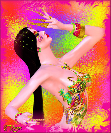 Art and beauty fantasy scene. A colorful, abstract, pop art image of a womans face against a colorful background.