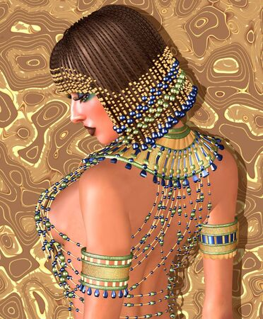 Egyptian braids, beads, beauty and gold all wrapped up in this one digital art fantasy scene.
