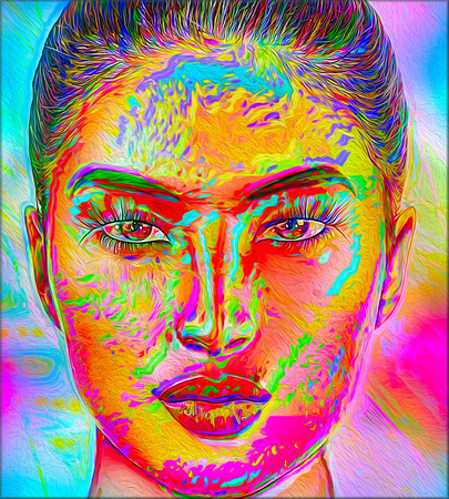 Colorful pop art image of a womans face. This is a digital art image of a close up womans face in pop art style. Stock Photo