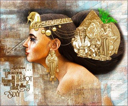 エジプト女性、ピラミッド、スフィンクス、美、富とエジプトの一意性を表わしウラエウス美しいファンタジー デジタル アート シーン!