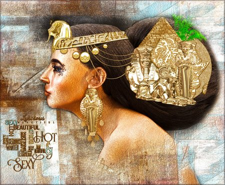 Egyptian woman, beautiful fantasy digital art scene with pyramid, sphinx, uraeus exuding the beauty,wealth and uniqueness of Egypt!