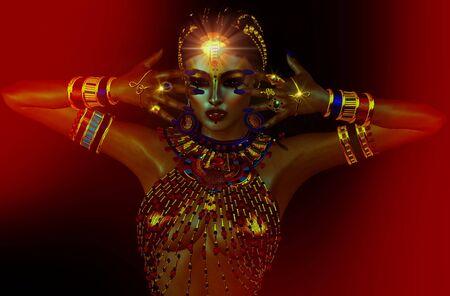seer: The Lights Within Night. Egyptian mystic, seer, fantasy art. Stock Photo