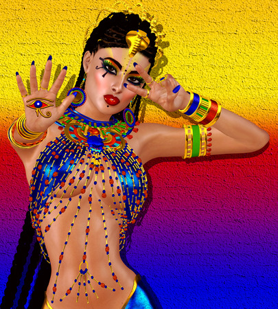 cleopatra: Egyptian braids, beads, beauty and gold all wrapped up in our digital art fantasy scene. This seductive woman poses against a unique gold abstract backgrounds as well and makes the scene even richer.