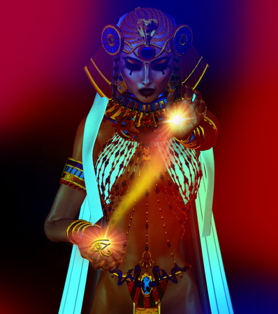 applicable: Egyptian fantasy image of a goddess of light. Applicable for Isis, meditation, inspiration, myth,magic, tranquility and more themes.