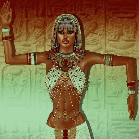 cleopatra: Egyptian braids, beads, beauty and gold all wrapped up in our digital art fantasy scene. This seductive woman poses against a unique gold abstract backgrounds as well and makes the scene even richer