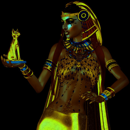 applicable: Egyptian fantasy image of goddess of light with Bast. Applicable for Isis, meditation, inspiration, myth,magic, tranquility and more themes.