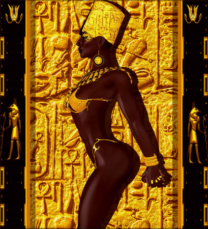 cleopatra: Nubian Princess. Standing against a gold background with a look of confidence and stunning beauty on her face, she exudes wealth, power and beauty. A fantasy digital art scene.