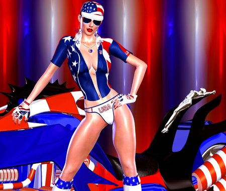 bikini bottom: 4th of July motorcycle chic. Stars and stripes accentuate every aspect of this fun digital art image for the U.S. Independence day celebration. A slick back hairstyle and sexy bikini bottom complete this hot July scene!