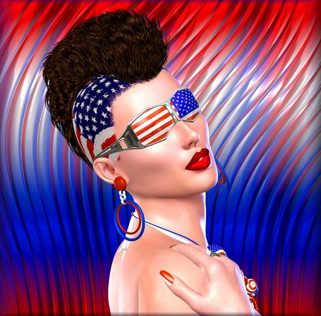 4th of July Punk girl with Mohawk hairstyle and stars and stripes glasses. Stock Photo