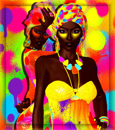 beauties: African American Fashion Beauties, two friends. A stunning colorful image of a beautiful woman with matching makeup, accessories and clothing against an abstract background.