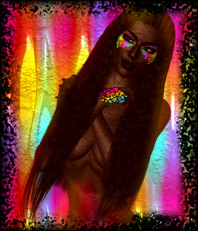 self worth: African American Fashion Beauty. A stunning colorful image of a beautiful woman with matching makeup, accessories and clothing against an abstract background.