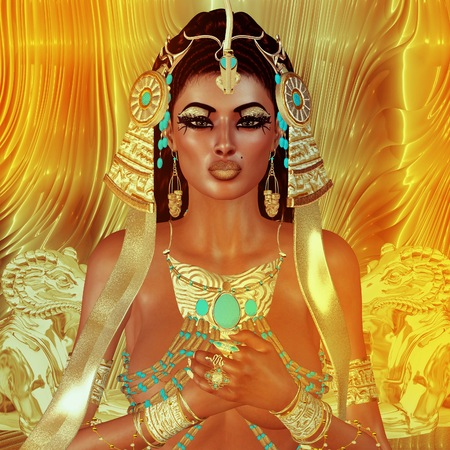 egyptian woman: Egyptian woman, beads, beauty and gold in our digital art fantasy scene. Perfect for Egyptian, fantasy and diversity themed projects plus more. Its a 3d render too, so no worries about any model releases!