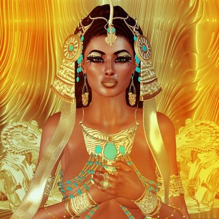 Egyptische vrouw, kralen, schoonheid en goud in onze digitale kunst fantasie scene. Perfect voor de Egyptische, fantasie en diversiteit thema projecten plus nog veel meer. Het is een 3d renderen ook, dus geen zorgen over een model releases! Stockfoto - 62615487