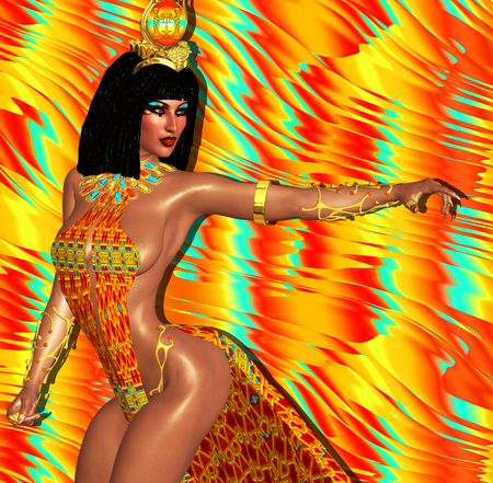 cleopatra: Egyptian woman, beads, beauty and gold in our digital art fantasy scene. Perfect for Egyptian, fantasy and diversity themed projects plus more. Its a 3d render too, so no worries about any model releases!