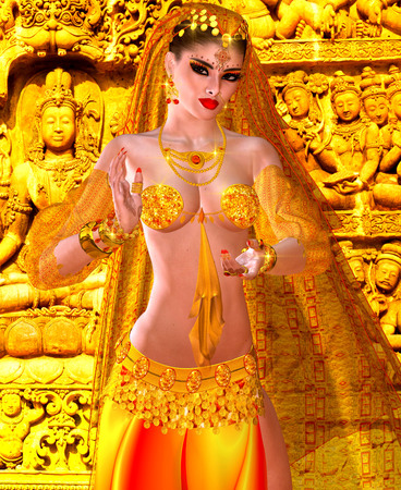 kamasutra: Abstract digital art of mysterious Indian or Asian fantasy woman. Perfect for themes on belly dancing, diversity, fantasy, mystery, culture and more. It is a 3d render too, so no worries about any model releases! Stock Photo