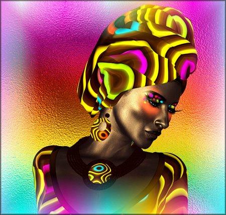 아프리카 계 미국인 패션 뷰티. 추상적 인 배경에 대해 메이크업, 액세서리 및 의류 일치하는 아름 다운 여자의 멋진 다채로운 이미지입니다.